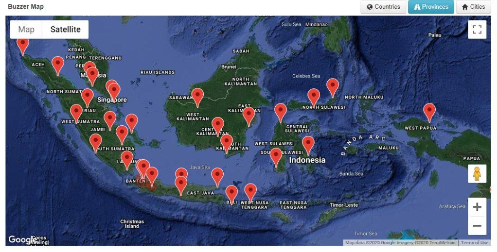 Peta Sebaran Buzzer Twitter.